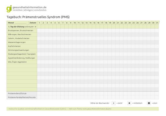Tagebuch: Prämenstruelles Syndrom (PMS) - Prämenstruelles Syndrom ...